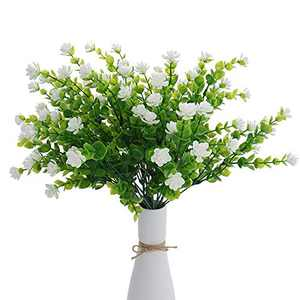 Beferr Artificial Flowers 4 Bunches of Shrub Fake Flowers UV Protection Green Plants Grass for Indoor Outdoor Decoration Table Garden Balcony Party Wedding (White)