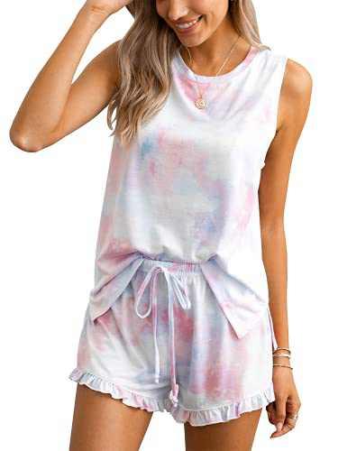 2pcs Womens Tie Dye Printed Ruffle Pajama Sets Lounger Sleep Leisure Wear (Pink-Blue,S)