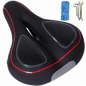 miniues Red Comfortable Gel Bike Seat Waterproof Bicycle Saddle with Extra Padded Silicone Gel for Road Cycling Mountain Gym Bikes Seat Cushion,Men and Women Soft Breathable Shock Absorbing