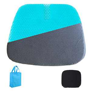 Extra-Large Gel Seat Cushion, Home/Office Chair /Wheelchair/Car Seat Cushion, Double- Layer Honeycomb Design Gel Cushion, High Breathability & Ultra-Soft, Relieve Sciatica, (1 Black Non-Slip Cover)