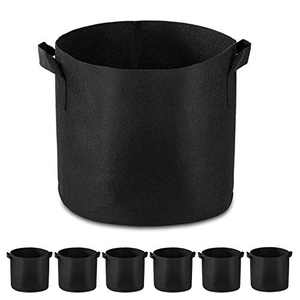 Garden4Ever 6-Pack 7 Gallon Grow Bags Heavy Duty Container Thickened Nonwoven Fabric Plant Pots with Handles(Black)