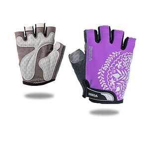 VEBE Women's Biking Cycling Gloves Non-Slip Shockproof Short Finger Gloves Outdoor Riding Mountain Bike Gloves… (Pink Mauve, S)
