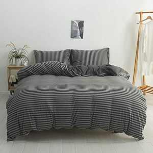 DONEUS Jersey Knit Cotton Duvet Cover King Size, Ultra Soft 3 Piece Stripes Pattern Duvet Cover Set, Super Soft and Easy Care Bedding Set with Zipper Closure Duvet Cover and 2 Pillow Shams
