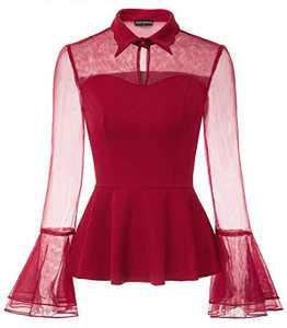 Women's Goth Blouse Sheer Keyhole Mesh Bell Sleeve Shirt Peplum Blouse Top Wine S
