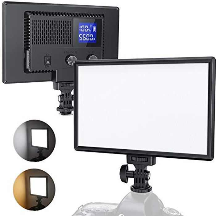 RALENO LED Camera Video Light, Built-in Rechargeable Batteries 3200K-5600K Dimmable Two-Tone and Brightness CRI95+ Ultra Thin Video Light with LCD Display for Babies YouTube Interview Portrait