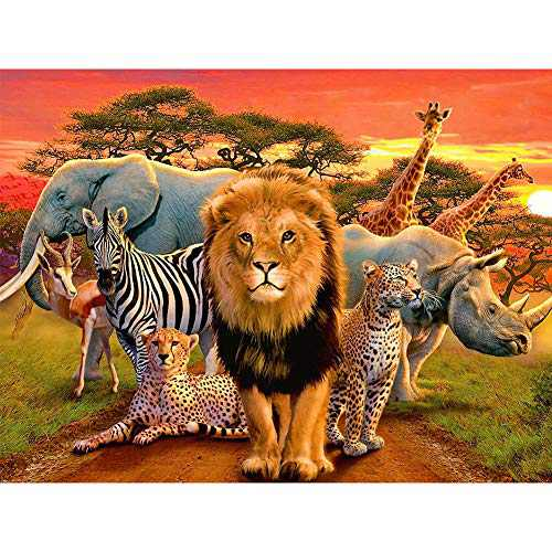 NEILDEN 5D Diamond Painting Kits for Adults, Animals Diamond Art Kits for Kids, Full Drill Diamond Painting for Home Wall Decor 12×16 Inches (Lion)