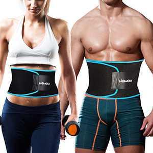 HLOMOM Waist Trimmer Belt,Stomach Sweatband, Low Back and Lumbar Support with Sauna Suit Effect,Waist Trimmer for Men/Women Black