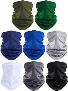 8 Pieces Summer UV Protection Neck Gaiter Scarf Balaclava Cooling Breathable Face Cover Scarf for Women Men Use