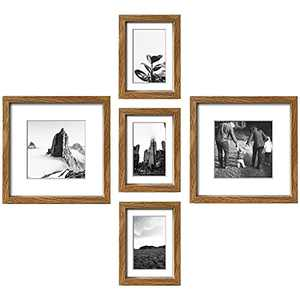ArtbyHannah Picture Frame Collage Set of 5, Multiple Size Gallery Photo Frame for Wall Art Décor - Made to Display Pictures 9x9 and 5x7 with Mat Family Wall Kit for Home Decoration, Walnut Frame