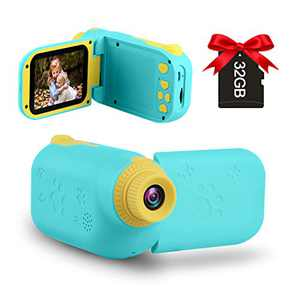 GKTZ Kids Video Camera Digital Cameras Camcorder Birthday Gifts for Boys and Girls Age 3 4 5 6 7 8 9,HD Children Videos Recorder Toy for Toddler with 32GB SD Card - Blue