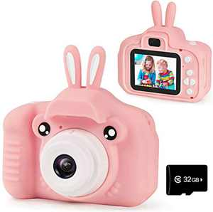 Agoigo Children Kids Camera Girls Toys Birthday Gifts for 2-12 Year Old Kid Digital Cameras Toddler Video Recorder Child Indoor Outdoor Camcorder Camera 2 Inch IPS Screen with 32GB Card (Pink)