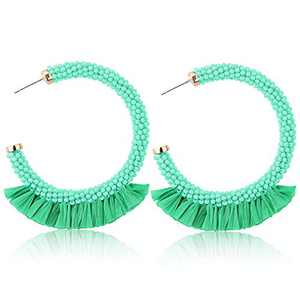 Sllaiss Summer Beaded Raffia Statement Earrings for Women Fashion Jewelry Handmade Bohemian Drop Dangle Earrings Big Circle Hoop Colorful (Green)