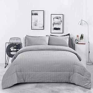 "Grey Seersucker Comforter Set Queen 3 Pieces Striped Textured Bedding (1 Comforter +2 Pillowcases) for All Season, Soft Microfiber Bedding Down Alternative Comforter Set 90""x 90"""