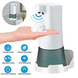 YISUN Touchless Automatic Foaming Soap Dispenser - 350ml Electric Hands Free Soap Dispenser, Rechargeable Countertop Foam Soap Pump for Bathroom Kitchen Hotel Restaurant