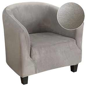 SearchI Armchair Cover Stretch Spandex Velvet Plush Chair Sofa Cover Slipcover, Furniture Protector Soft Anti-Slip Couch Covers with Elastic Bottom for Living Room(Light Grey)
