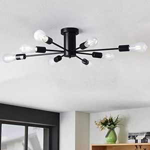 KOSTOMO 8 Lights Ceiling Light Fixture Industrial Metal Flush Mount Lights Modern Black Ceiling Lamp for Kitchen Dining Living Room(Black-8Lights)