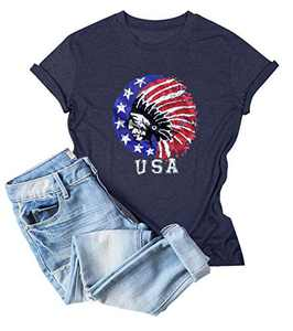 4th of July USA Flag T-Shirts Women Indian Headdress Graphic Vintage Casual Tee Tops Navy