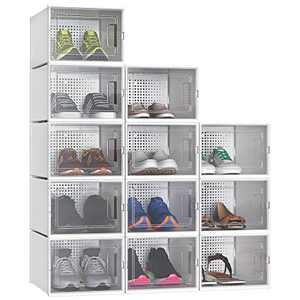 YITAHOME Shoe Box, Set of 12 Shoe Storage Organizers Stackable Shoe Storage Box Rack Clear Drawer-White, Medium Size