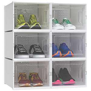 YITAHOME Large Size Shoe Box, Set of 6 Shoe Storage Organizers Heavy Duty Stackable Clear Shoe Storage Box Rack Clear Drawer-White
