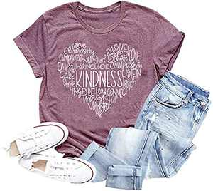 Womens Kindness Shirts Cute Heart Be Kind Graphic Tees Short Sleeve Casual Tops (A-Red Bean, Large)