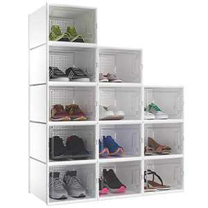 YITAHOME Shoe Box, Set of 12 Large Size Shoe Storage Organizers Heavy Duty Stackable Clear Shoe Storage Box Rack Clear Drawer-White