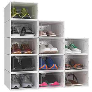 YITAHOME Shoe Box, Set of 12 Small Size Shoe Storage Organizers Stackable Clear Shoe Storage Box Rack Clear Drawer-White (Small Size)
