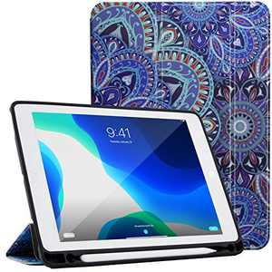 LOFTer Leather Case Compatible with iPad 10.2 Case 8th 7th Gen Heat Dissipation Smart Folio Cover Tri-Fold Case Auto Sleep Wake Case for iPad 10.5 inch - Blue Mandala Flower