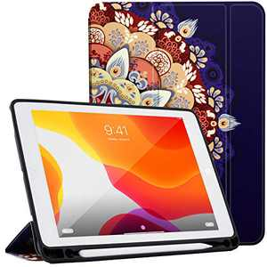 LOFTer Leather Case Compatible with iPad 10.2 Case 8th 7th Gen Heat Dissipation Smart Folio Cover Tri-Fold Case Auto Sleep Wake Case for iPad 10.5 inch - Mandala Flower