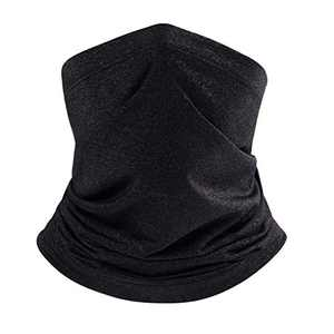 Cooling Neck Gaiter Face Mask/Summer Neck Cover Face Scarf - UV Protection & Dustproof Face Covering Headwear (B- Black)