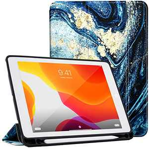 LOFTer Leather Case Compatible with iPad 9.7 Case 2017/2018 5th 6th Gen Cover Heat Dissipation Smart Folio Cover Tri-Fold Case Auto Sleep Wake for iPad Air 1/2 Case 9.7 inch - Blue Quicksand Marble