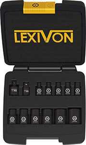 LEXIVON E-TORX Socket Set, Chrome Vanadium Alloy Steel | 13-Piece Female Star Socket E4 - E20 Set | Enhanced Storage Case (LX-147)