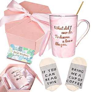 Bosmarlin Valentine's Day Birthday Gifts Coffee Mug for Women Wife Girlfriend Partner, What Did I Ever Do to Deserve A Love Like You Mug, Funny Mug Gift for Her, 13 oz, Pink Ceramic Marble Mug (Pink)