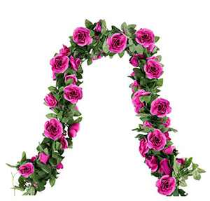 Fake Rose Vines Garland with Flowers 4pcs Silk Rose Artificial Flower Vines for Decoration Hanging Rose Ivy for Hotel Wedding Home Party Garden Craft Art Decor (Purple)