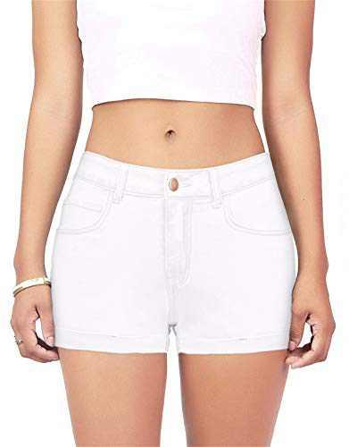 onlypuff Hot Pants Women Denim Shorts Distressed Cuffed Folded Casual White XXL