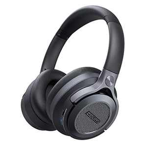 Noise Cancelling Headphones,COUMI Wireless Headphones Bluetooth,Over-Ear Headphone with Deep Bass, USB-C Fast Charging, Carrying Case,Soft Earmuffs for Travel/Home/Online/Office, Black