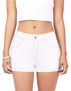 onlypuff Shorts with Pockets Denim Jeans for Women Cuffed Stretchy White M
