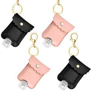 8 Pieces Travel Bottles Keychain Holder Bags Set, 4 Pieces of 60 ml Clear Refillable Plastic Bottles Transparent Flip Cap Bottles 4 Pieces Key Chain Holders Black Pink Keychain Bags