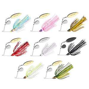 Goture Bass Fishing Lures Spinner Baits Kit Jigs for Bass Fishing Bladed Freshwater Saltwater Spinner Bait Rooer Buzz Bait Weedless Blade for Salmon Pike Trout Walleye Jigs (1/2 3/8 Oz)