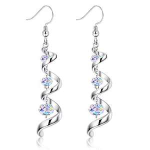 Sllaiss 925 Sterling Silver Dangle Earrings Austria Crystal 18K White Gold Drop Earrings for Women Spiral Ribbon Tassel Earrings for Anniversary Birthday