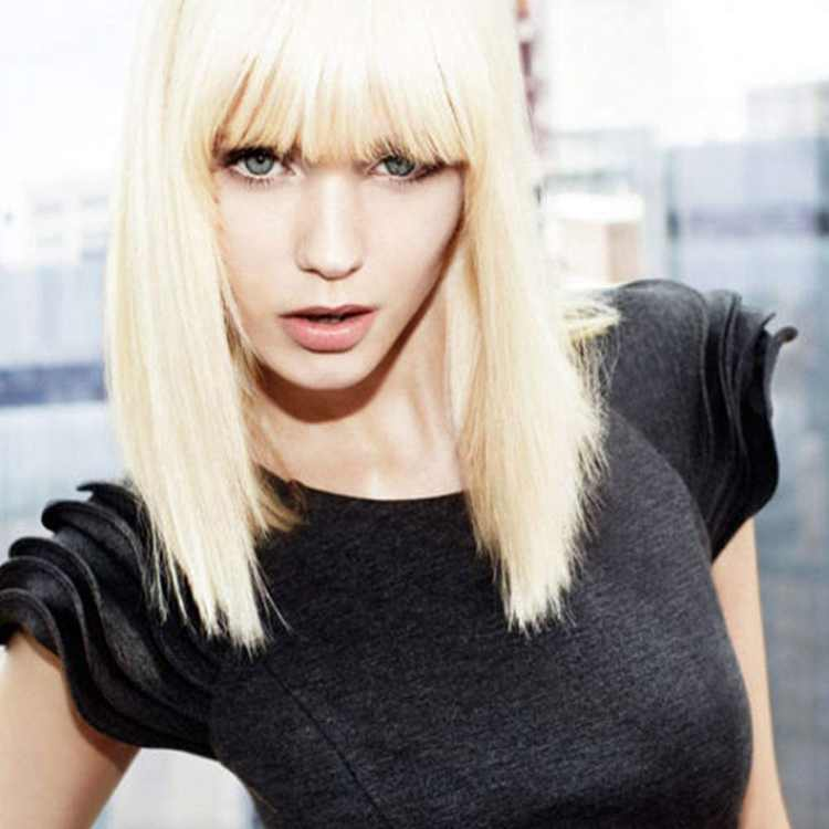 Queentas Pure Blonde Yaki Bob Wig with Bangs for Women Medium Length Straight Synthetic Hair #613