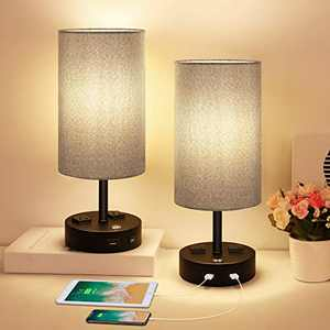 Table Lamp, Bedside Lamp with USB Port, 3 Way Dimmable Touch lamp, Table Lamps for Bedrooms, E26 LED Bulbs Included Nightstand Lamps, Small Desk Lamp with Grey Fabric Ideal for Living Room or Office