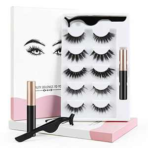 Magnetic Eyelashes with Magnetic Eyeliner, 3D Magnetic Lashes Kit Reusable Natural Look Magnetic Eyelash with Tweezers - No Glue Needed (5 Pairs )
