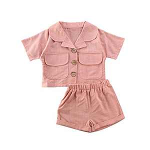 Toddler Baby Girl Cotton Linen Shorts Set Short Sleeve Lapel Button Down Pockets Shirts Tops Shorts Pants Outfit Set (Pink, 3-4Y)