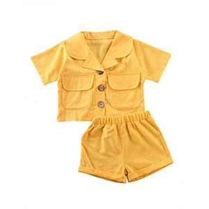 Toddler Baby Girl Cotton Linen Shorts Set Short Sleeve Lapel Button Down Pockets Shirts Tops Shorts Pants Outfit Set (Yellow, 6-12M)