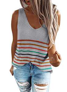 Zecilbo Women's V Neck Stripes Casual Sleeveless Cami Tanks for Women Loose Fit Fashion Shirts Top Gray, Large