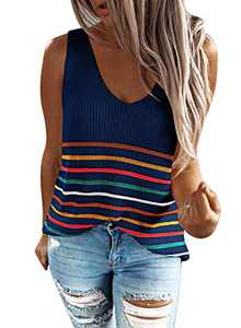 Zecilbo Women Cute Knitted Stripes Print V Neck Cami Tanks Loose Fit Casual Cotton Summer Shirts Top Blue, Medium