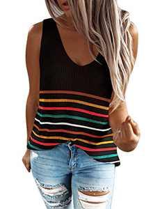 Zecilbo Womens Casual Knit Oversize Summer Tank Top Striped Sleeveless Lightweight Tops Shirt Black, X-Large