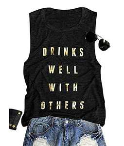 Drinks Well with Others Tank Top Women's Sleeveless Letters Print Summer T-Shirt Tank Top (Dark Grey, XL)