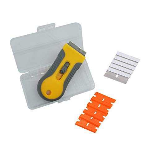 Razor Scraper/Scrapers Tool Glass/Retractable Safety Squeegee Vinyl Sticker Glue Cleaner Window Ceramic Oven Tinting Glass Tool (Scrapers Tool Glass)