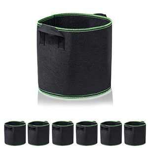 Garden4Ever Grow Bags 6-Pack 1 Gallon Aeration Fabric Pots Container with Handles (6-Pack 1 Gallon, Black/Green 6-Pack)